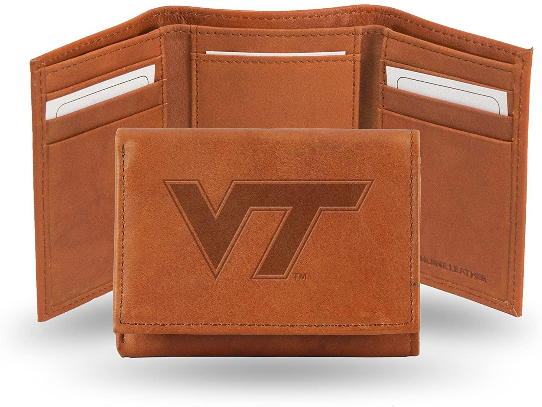 Rico Industries NCAA Virginia Tech Hokies Embossed Leather Trifold Wallet, Tan