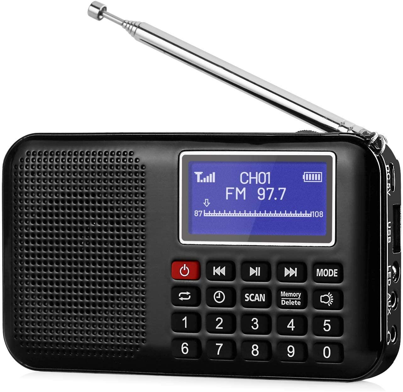 Raddy RF28 Portable FM Pocket Radio Speaker AUX MP3 USB Music Player, Battery Operated, Digital Tuning with Flashlight, Sleep Timer, Support TF Card (Black)