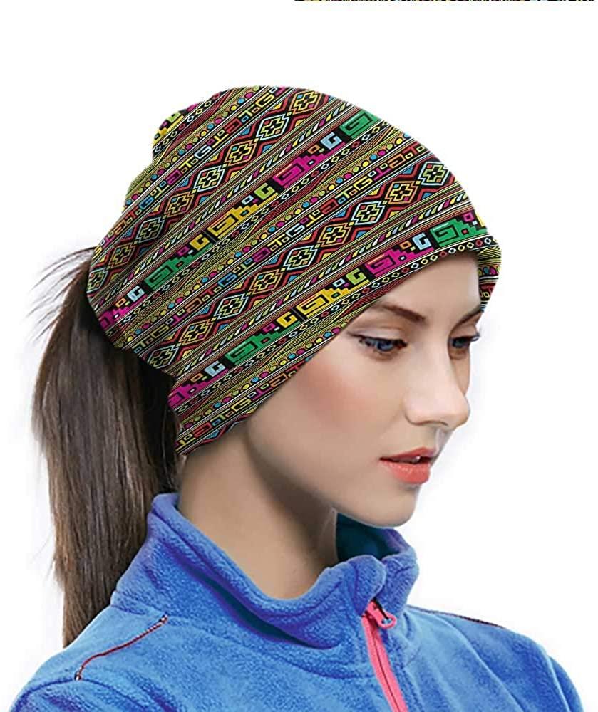 Balaclava Headwear African, Colorful Indigenous Art Multifunctional Sports-Headbands for Fishing Hiking Cycling 10 x 11.6 Inch