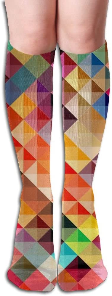 MASDUIH Colorful Triangle Stripe Knee High Crew Socks Knee High Stockings