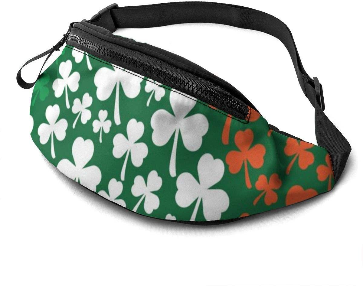 St. Patrick's Day Shamrock Irish Flag Fanny Pack for Men Women Waist Pack Bag with Headphone Jack and Zipper Pockets Adjustable Straps