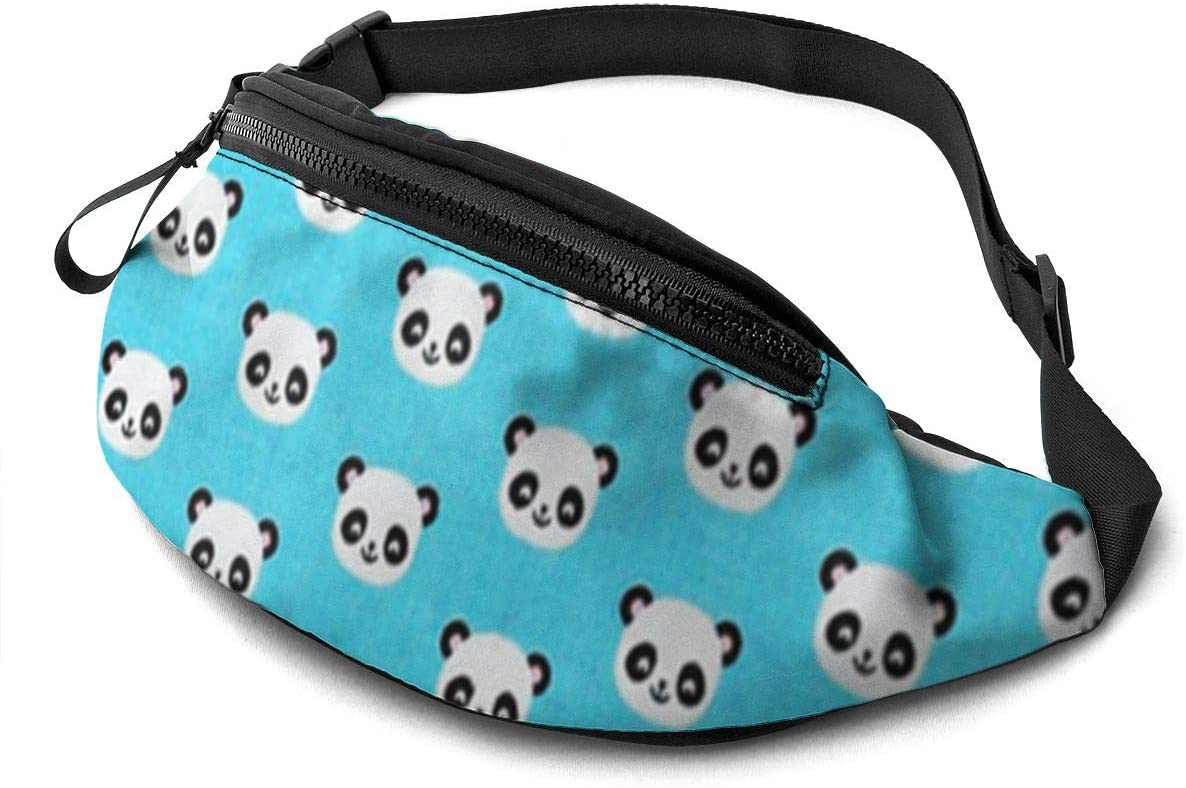 Cute Panda Icon Fanny Pack for Men Women Waist Pack Bag with Headphone Jack and Zipper Pockets Adjustable Straps