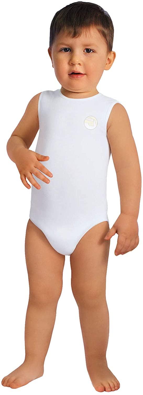 RelaxMaternity Baby 5921 Milk Fiber Boys & Girls Sleeveless Bodysuit - one Size 6-36 Months, 100% Made in Italy