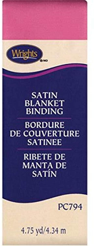 Wrights Single Fold Satin Blanket Binding, 2 by 4-3/4-Yard, Candy Pink