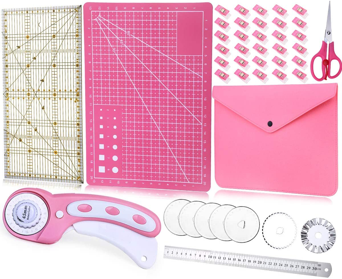 Pink 45 mm Rotary Cutter Set-Fabric Cutter with Storage Bag, A3 Self Healing Cutting Mat, Acrylic Ruler, 5 Pcs Replacement Blades and 50 Sewing Clips for Crafting, Quilting, Patchworking