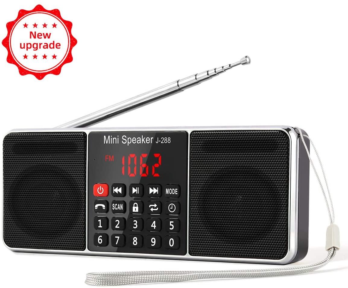 PRUNUS J-288 AM/FM Radio Portable, Hands-Free Bluetooth Radio Stereo Speaker with Sleep Timer, Power-Saving Display, Ultra-Long Antenna, AUX Input & USB Disk & TF Card MP3 Player(Black)