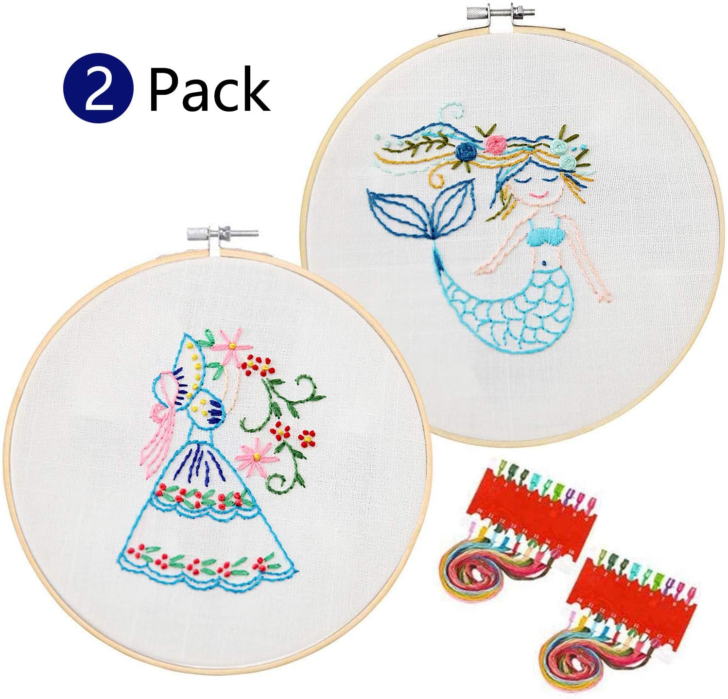 ZYNERY 2-Set Kids Embroidery Kit for Beginner Starter Including Embroidery Cloth, Embroidery Hoop, Needles, Color Threads(The Legend of The sea and Flower Skirt Girl)