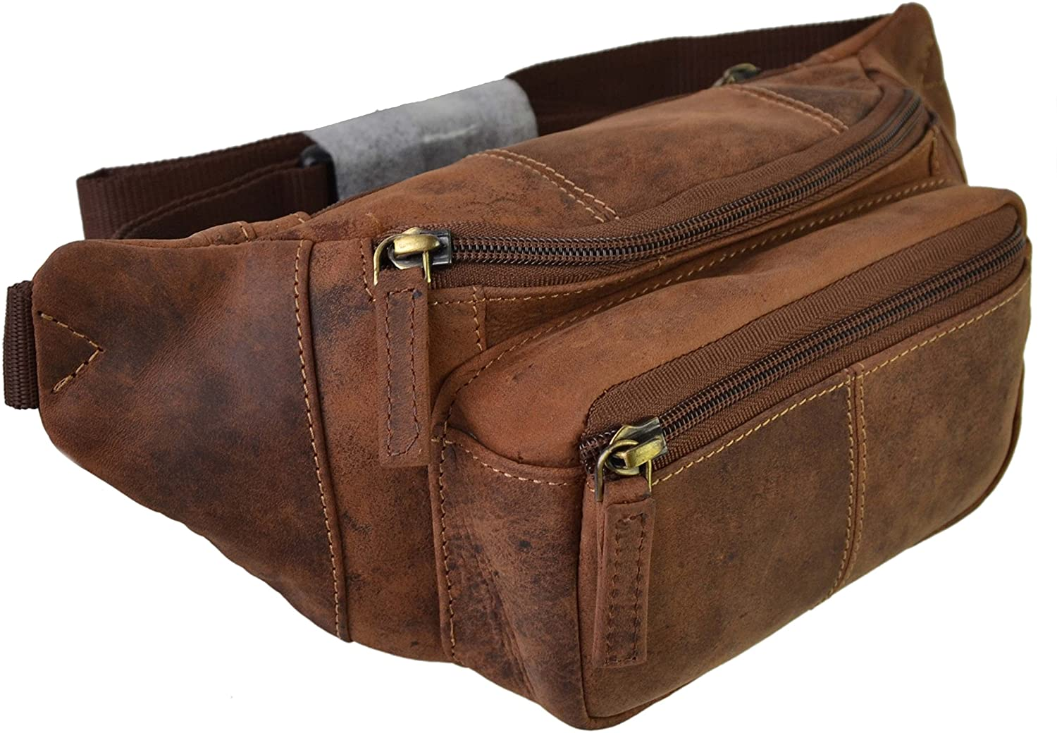 Visconti Leather Unisex Fanny Pack - Oil Tan