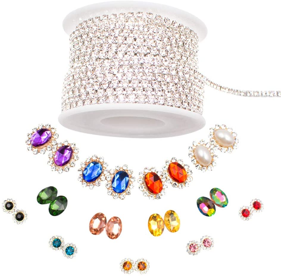 DailyTreasures 10 Yards 3MM Crystal Rhinestone Close Chain- with 24Pcs Colorful Sew On Crystal Rhinestone, Trimming Claw Chain Sewing Craft for jewelry making, wedding bridal decoration, cellphone cas