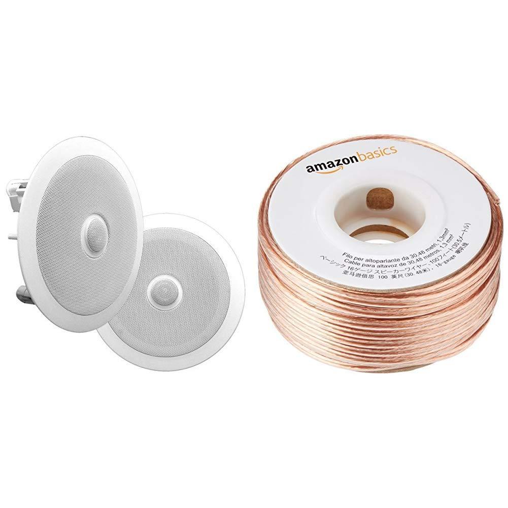 6.5 In-Wall/In-Ceiling Midbass Speakers (Pair) & DHgateBasics SW100ft  16-Gauge Speaker Wire - 100 Feet