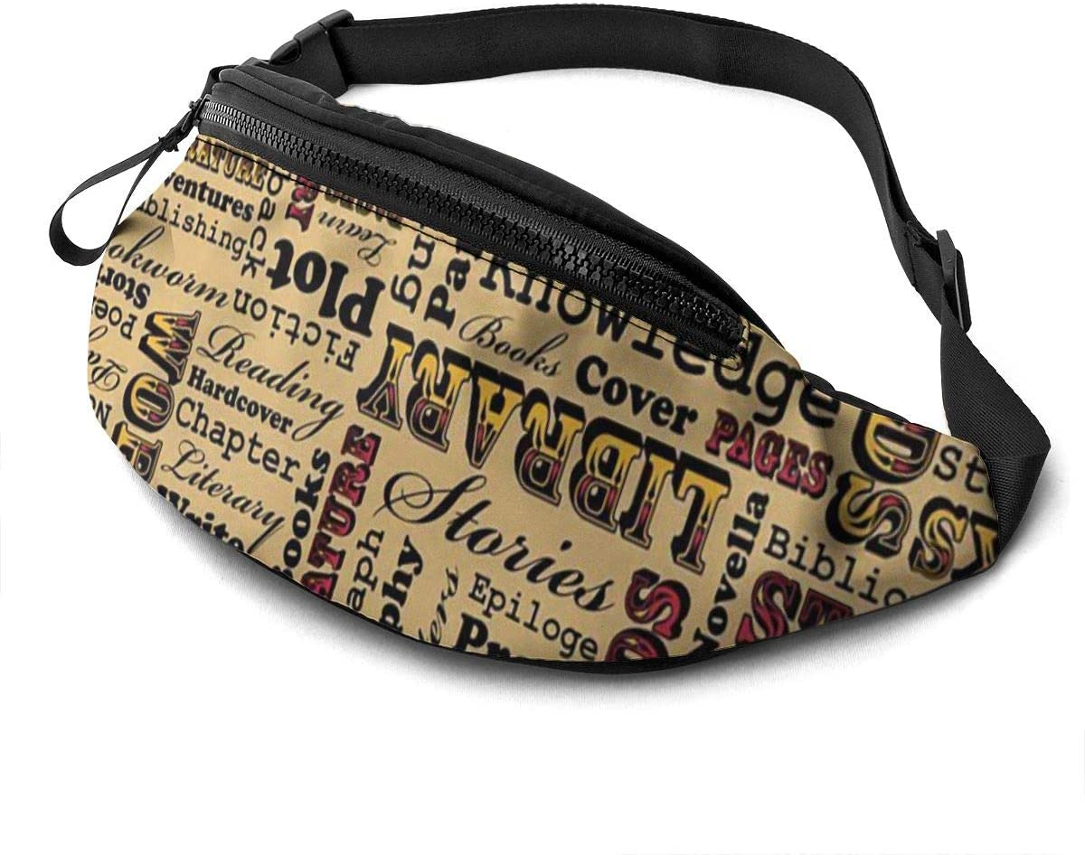 A Book Lover's Medley Fanny Pack for Men Women Waist Pack Bag with Headphone Jack and Zipper Pockets Adjustable Straps