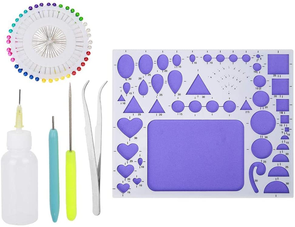 6 Pcs Paper Craft Quilling Tools Kit - Alloyseed Quilling Paper Mould,Tweezer, Bead Needle,Quilling Paper Pen,Cone and Point Glue Bottle Art Craft Decoration DIY Design Handcraft Tool for Beginner