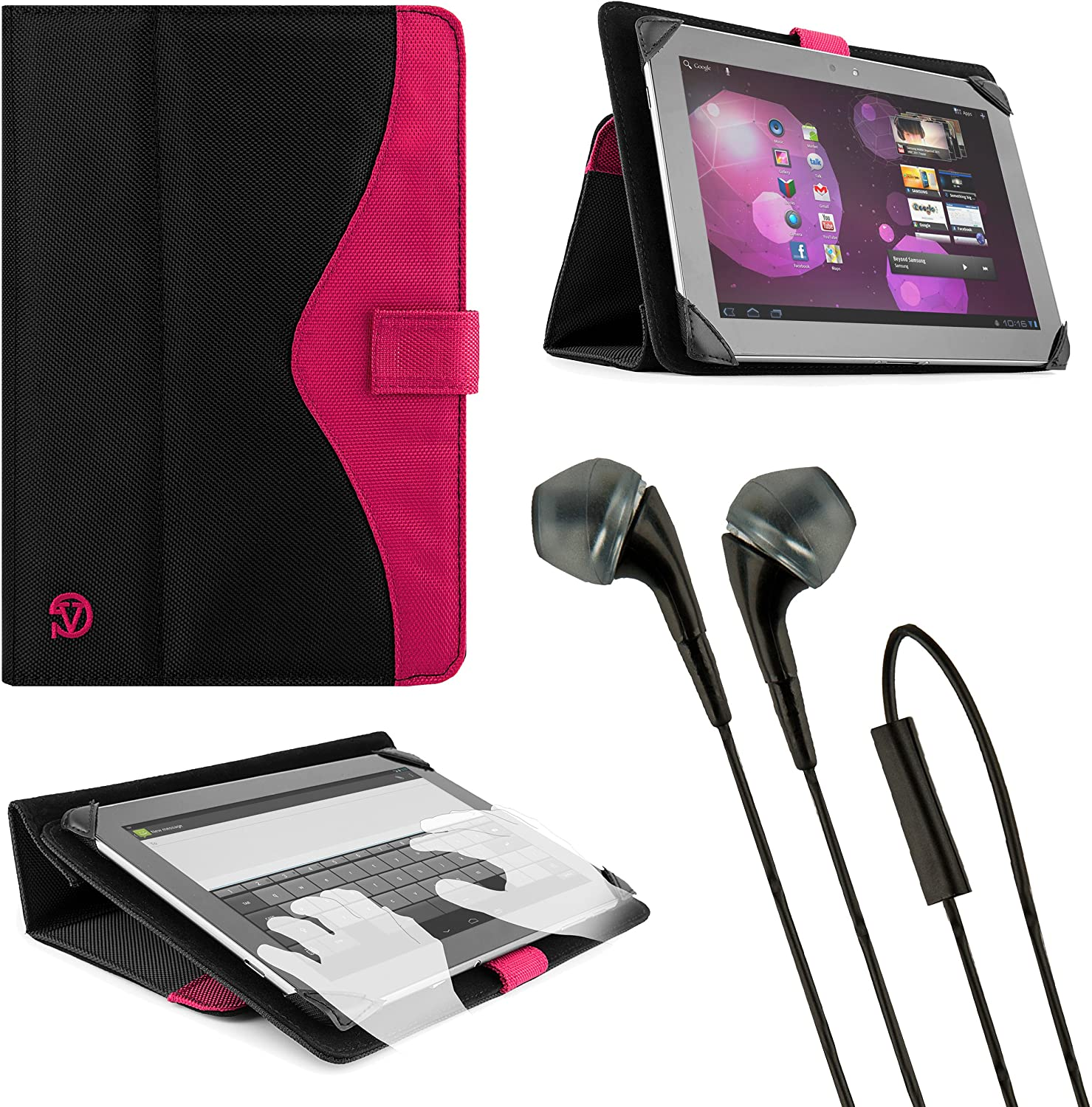 Tablet Portfolio Fold to Stand Case with Earbuds Included