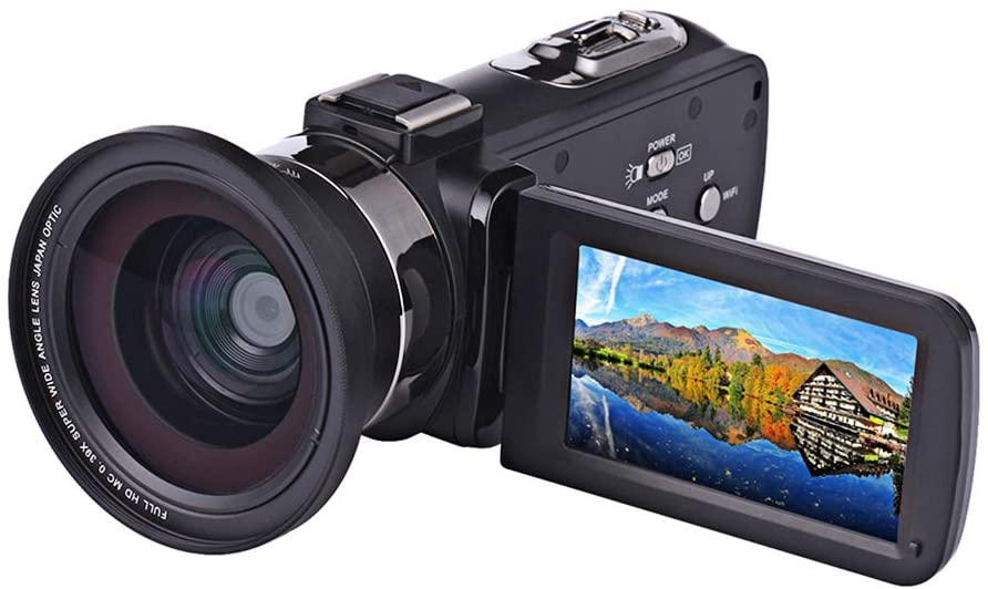 ZCFXGHH 4K Digital Camera Night Vision Digital Video Camera Wi-Fi HD Camera DV External Microphone Wide Angle Mirror LED Light,2