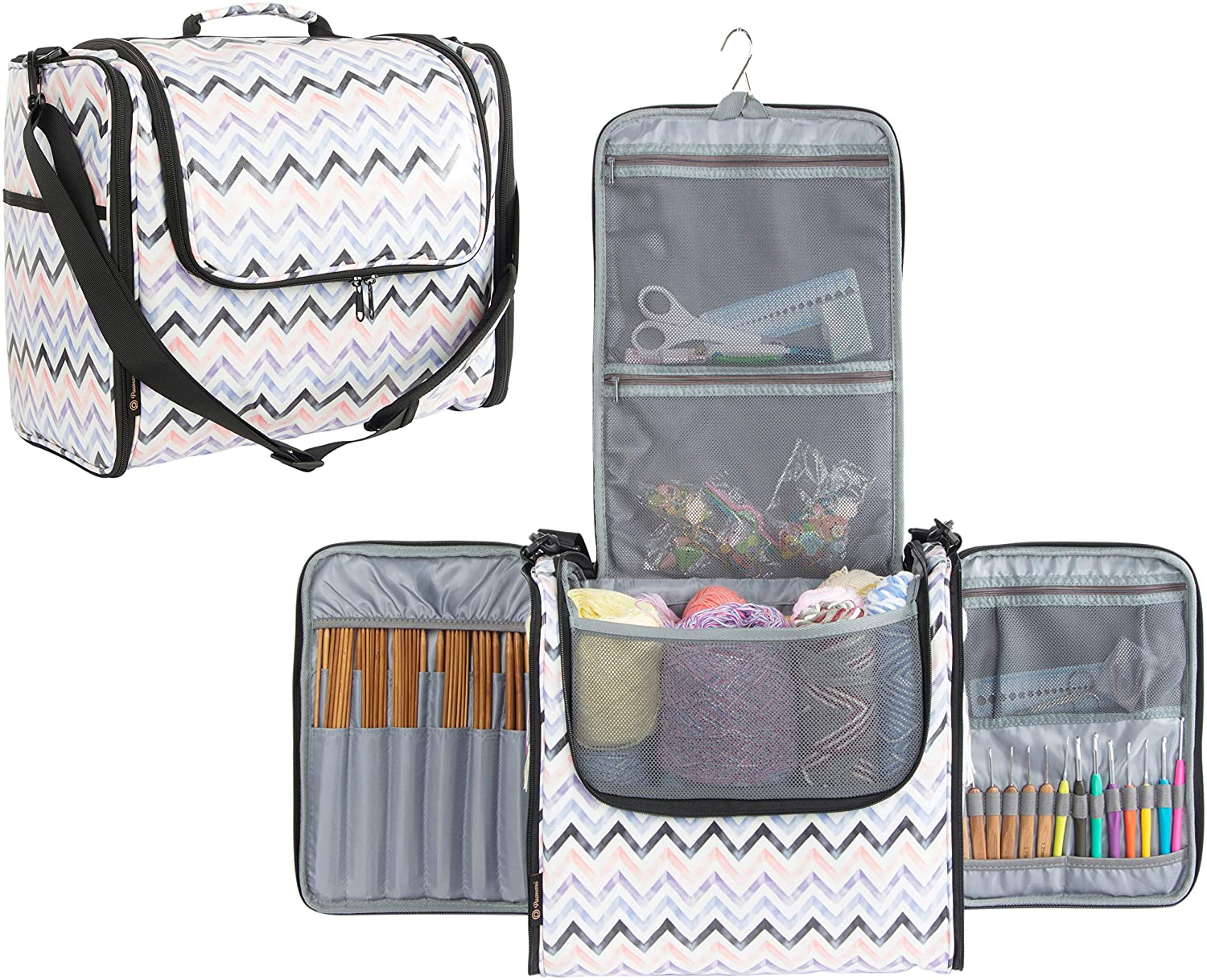 PACMAXI Yarn Storage Knitting Bag-High Capacity Portable Yarn Tote Storage Organizer with Shoulder Strap and Hook for Cotton Yarns, Crochet Hooks, Knitting Needles(Up to 10 Inch) (Chevron(Large))