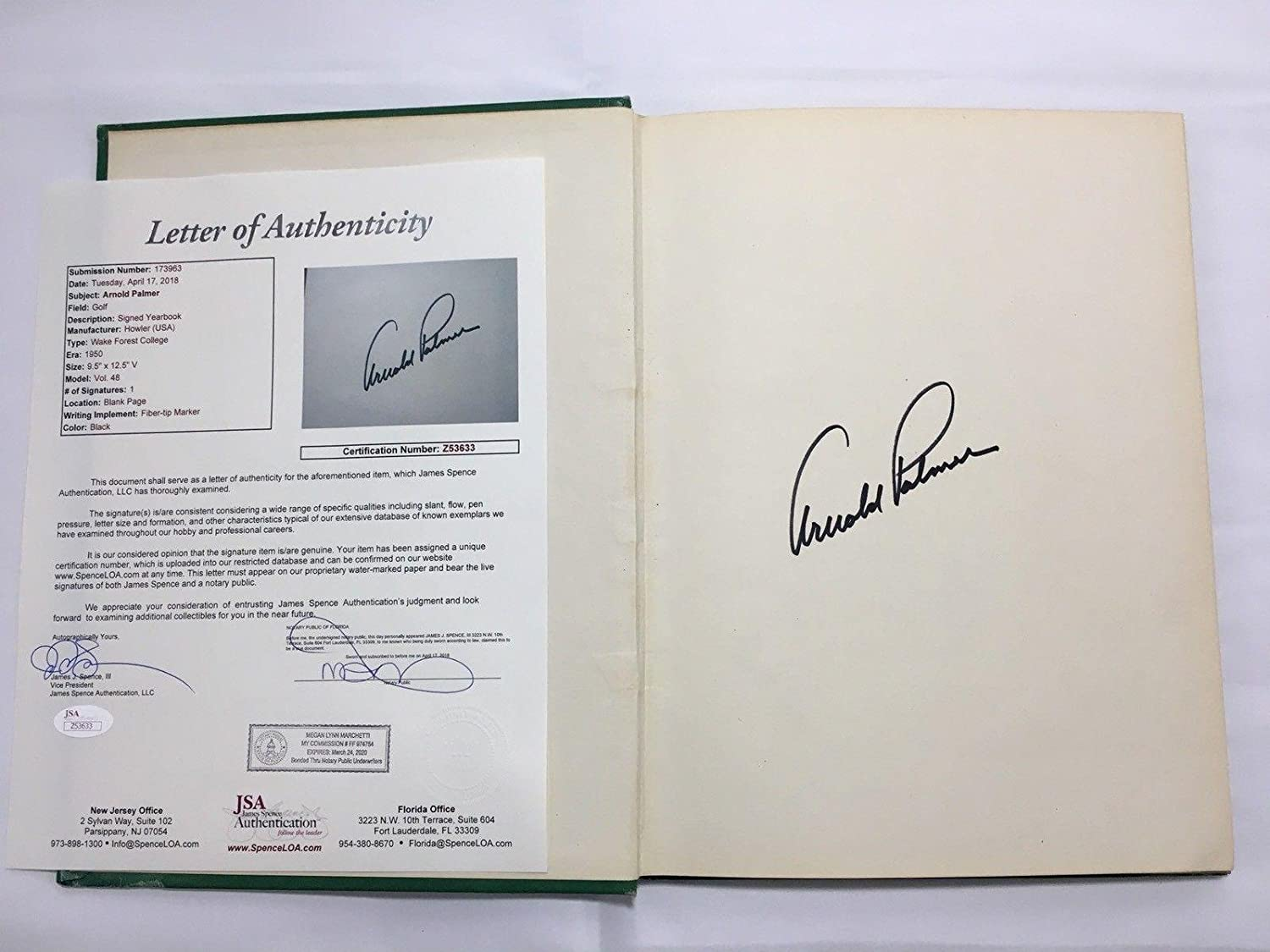 Arnold Palmer Signed 1950 Wake Forrest Yearbook Howler JSA LOA Masters - Autographed Golf Magazines