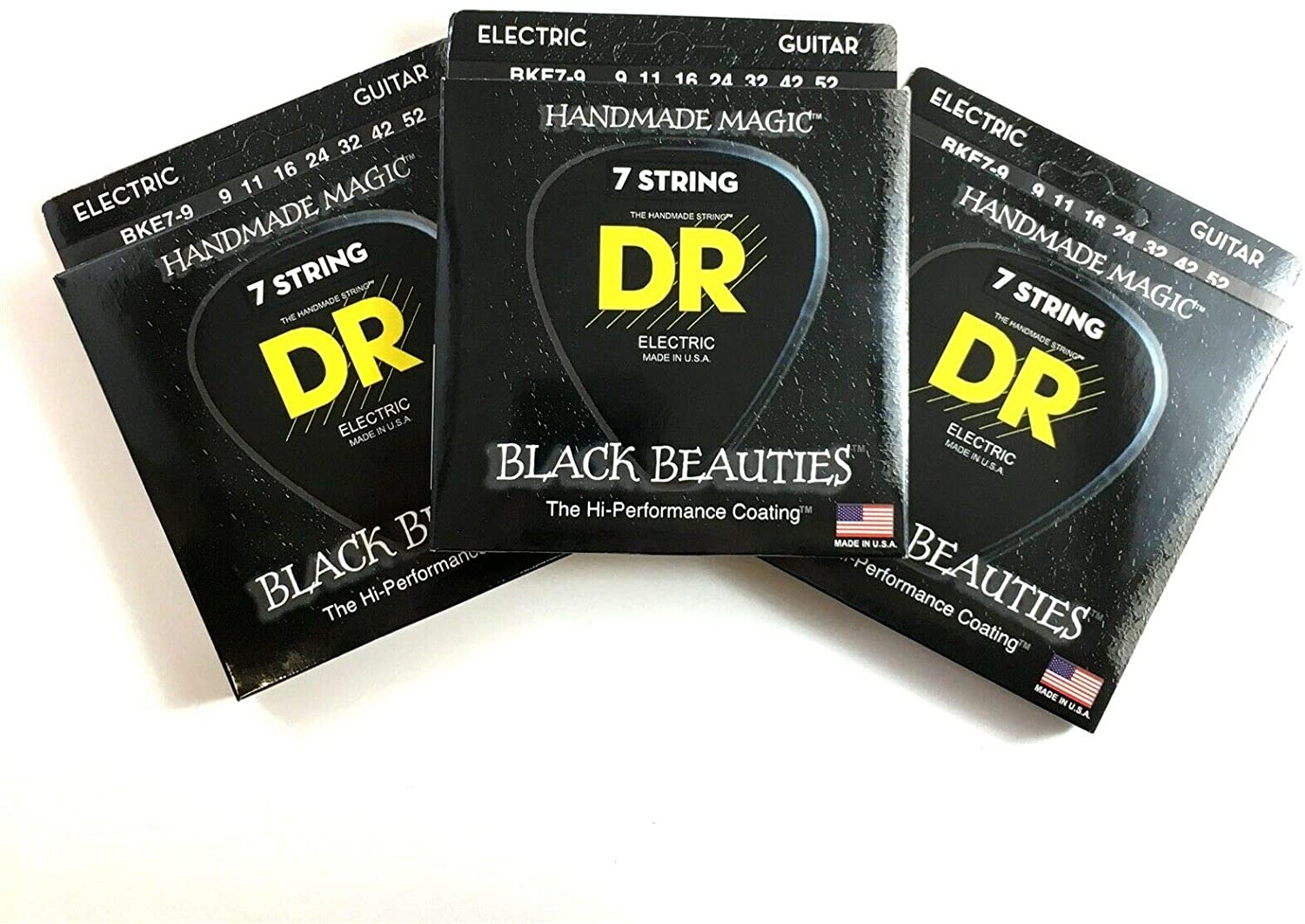 DR Guitar Strings Electric 7-String 3-Pack K3 Black Beauties 9-52 Extra Light
