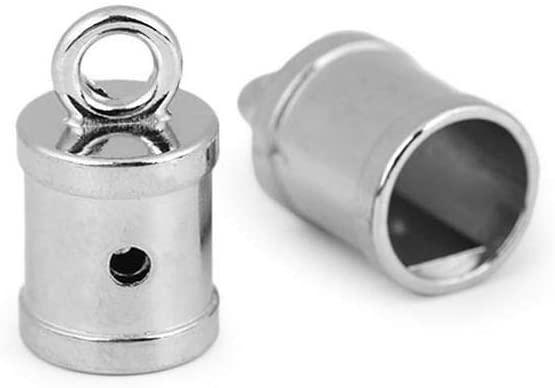 2pc Nickel Metal Cord End Cap Ø11mm, Caps, Crimp Ends, Webbing Tips, Hardware/Haberdashery
