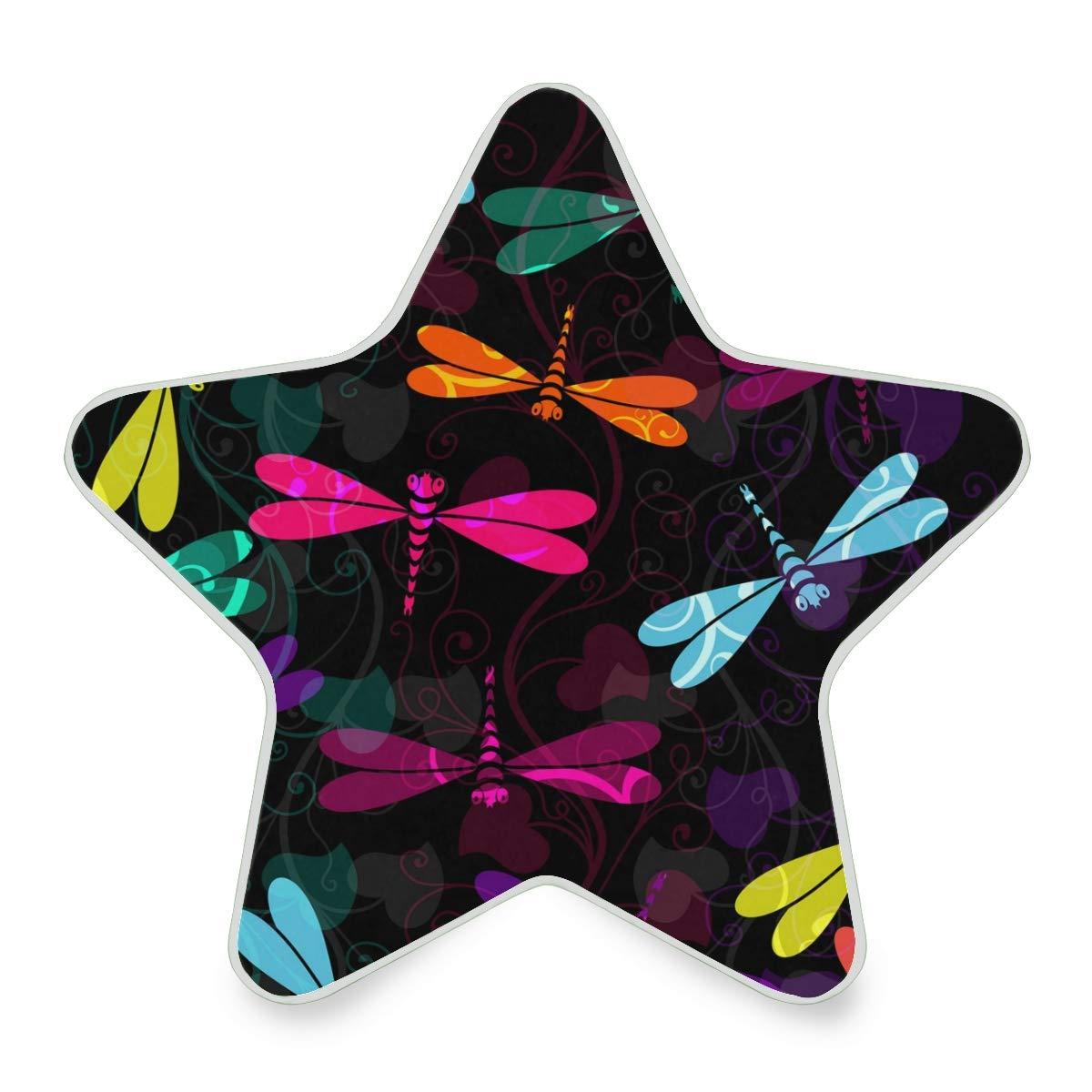 Mini Night Light Damask Flower Dragonfly Special Star Pentagram Shaped Nightlight Children's Bedroom Cute Plug in Light Decoration Emergency Lamp for Kids Girls Boys Childrens