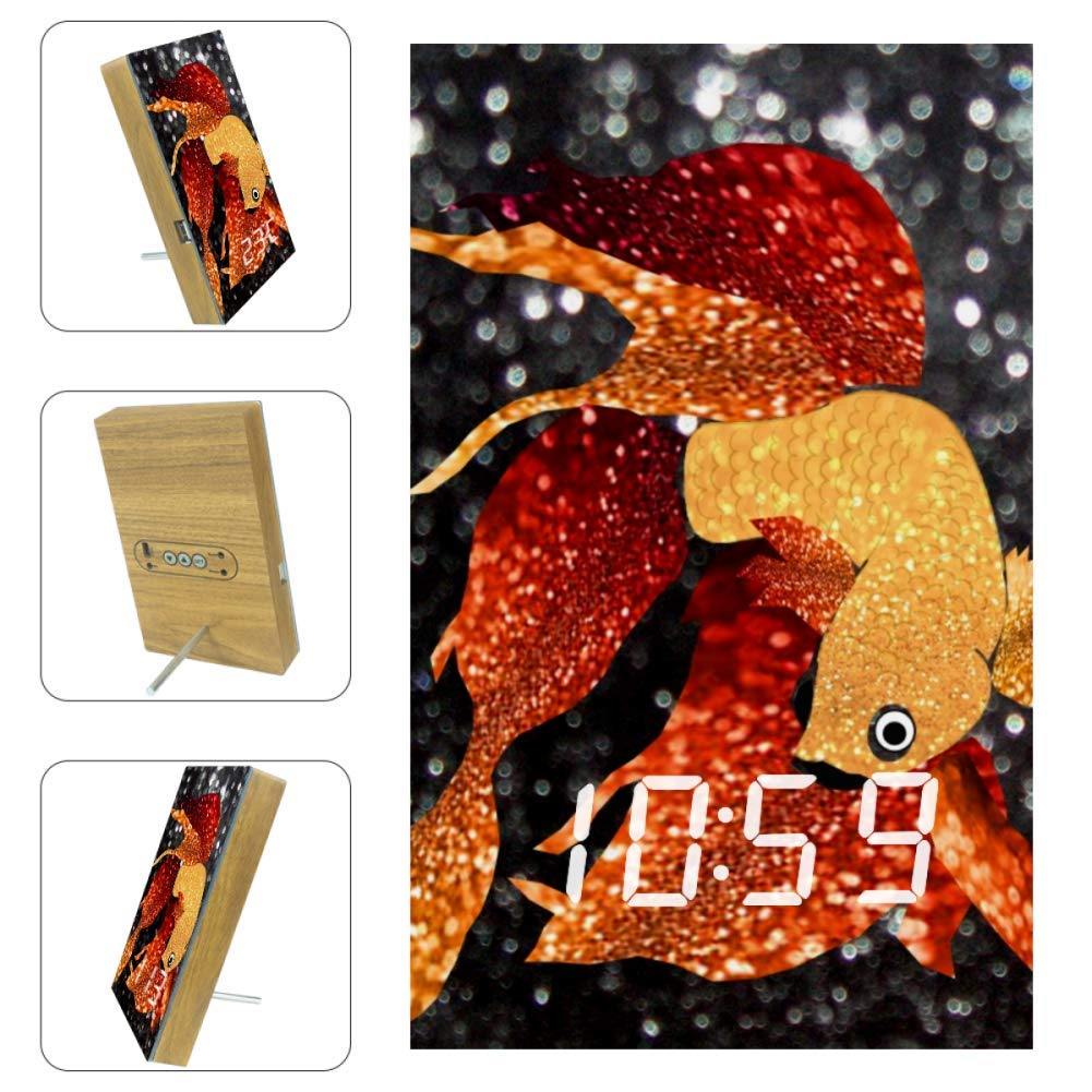 The Goldfish Wall Clock LED Lighting Clock Home Decor Birthday&Easter Gift for Kids,Design Creative