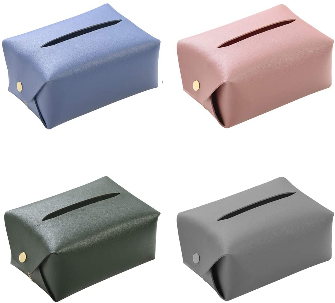 SHAPL Tissue Box Cover | 4 Pack, Leather Napkin Holder, Fashion Design, Removable Tissue.