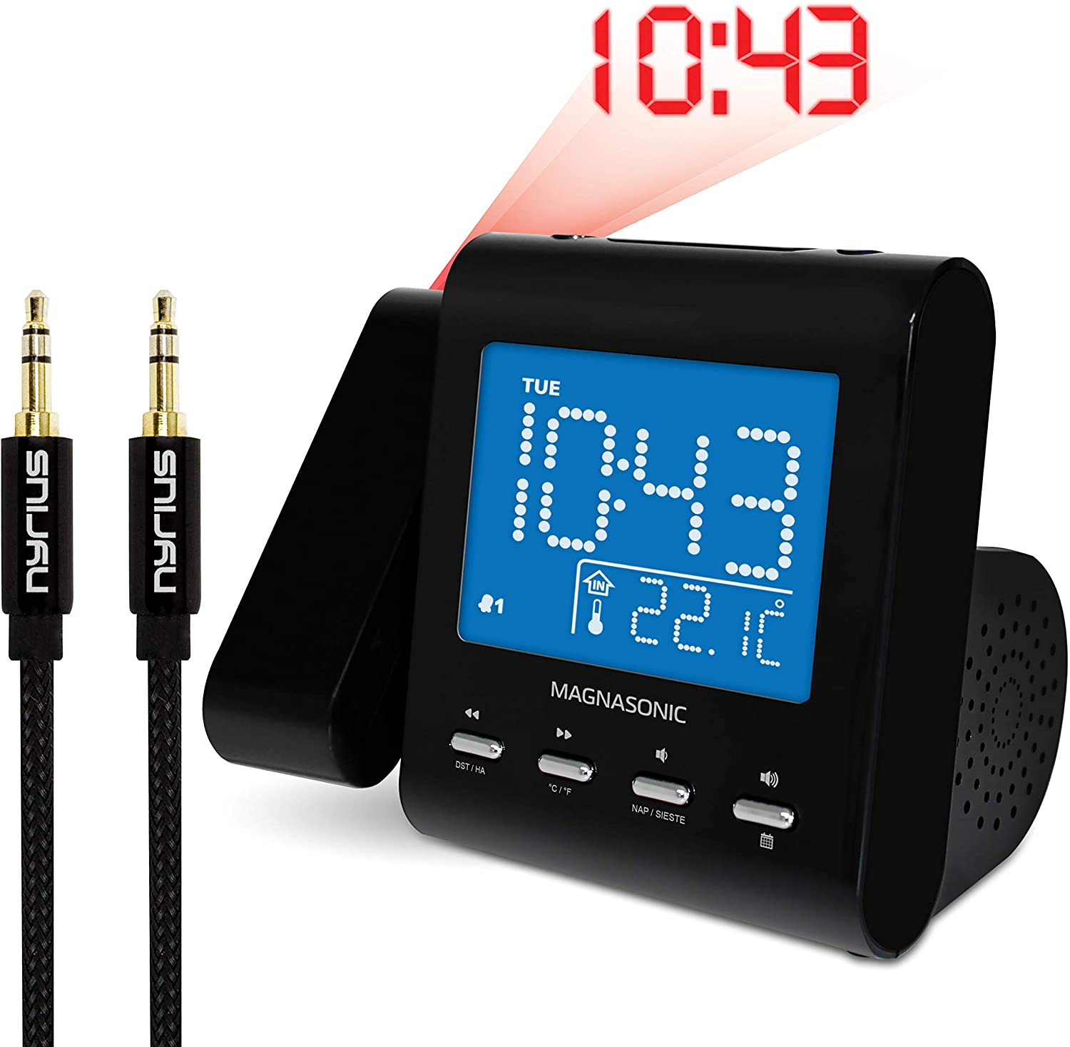 Magnasonic Projection Alarm Clock with AM/FM Radio, Battery Backup, Auto Time Set, Dual Alarm, Sleep Timer, Indoor Temperature/Day/Date Display & Bonus 3.5mm Aux Stereo Cable