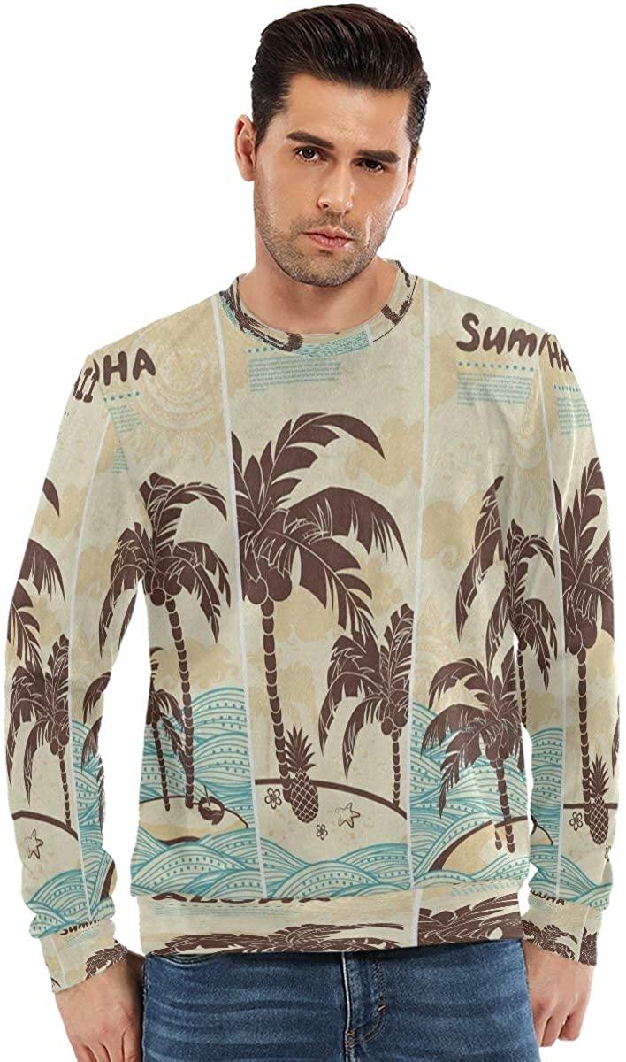 SLHFPX College Crewneck Sweatshirt Men Vintage Hawaiian Island Ocean Palm Tree Long Sleeve T Shirts Hoodless Cool Boys