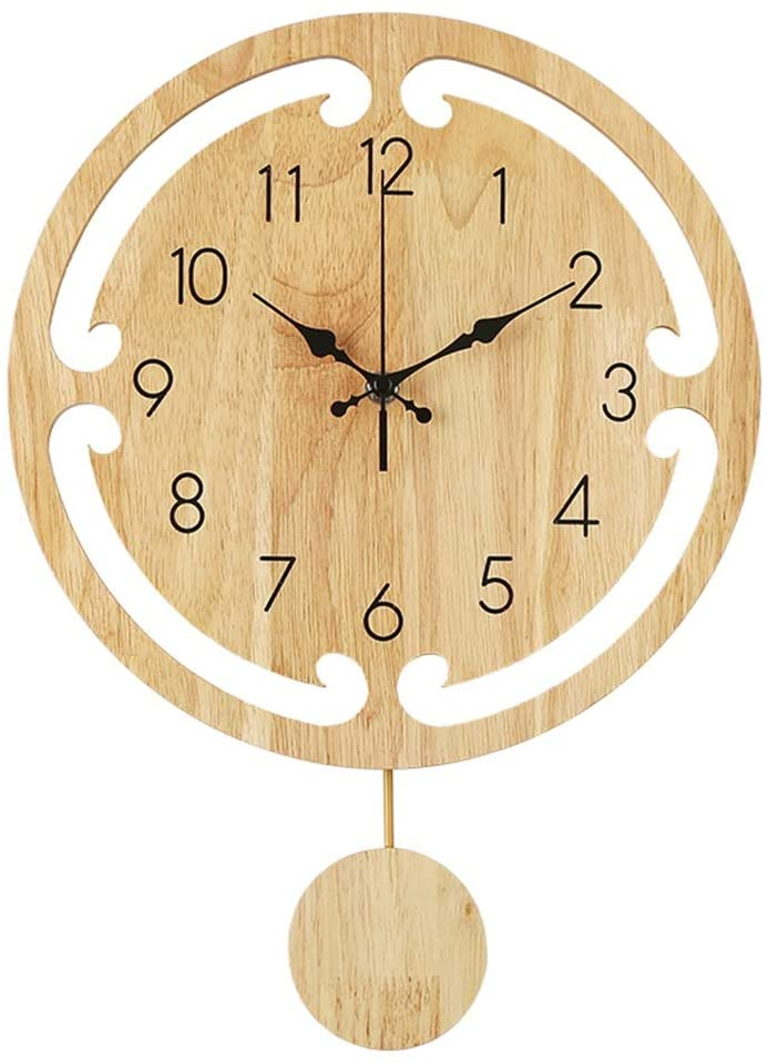 FJKAHGA Silent Wall Clock Non-Ticking Quartz Wood Clock, Perfect Round Craft for Bedroom, Living Room, Kitchen. Indoor Wall Decoration.