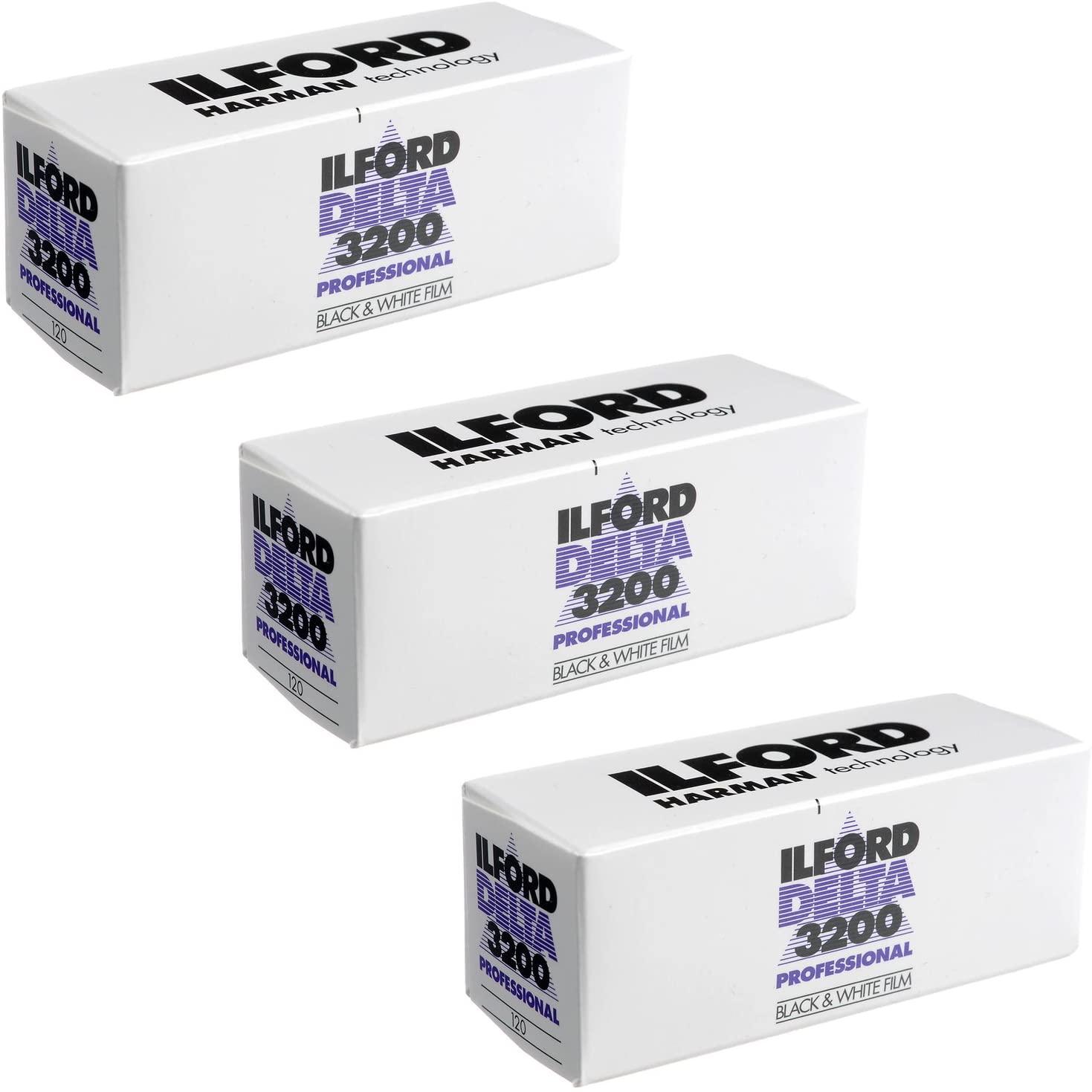 3 X Ilford Delta 3200 Professional, Black and White Print Film, 120 (6 cm), ISO 3200 (1921535)