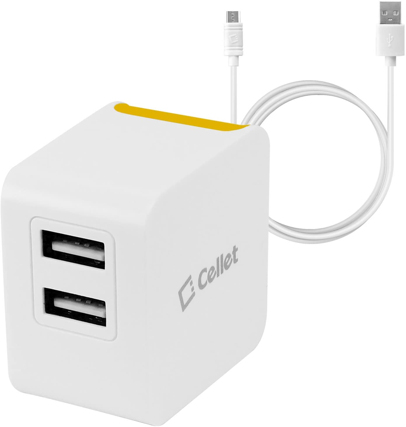 Cellet Universal High Powered 12W/2.4A Dual USB Home Charger Compatible to DHgate Kindle, DHgate Fire Tablets, eReaders and Echo Dot, Paperwhite, Oasis (4 ft. Micro USB Cable Included) - Orange