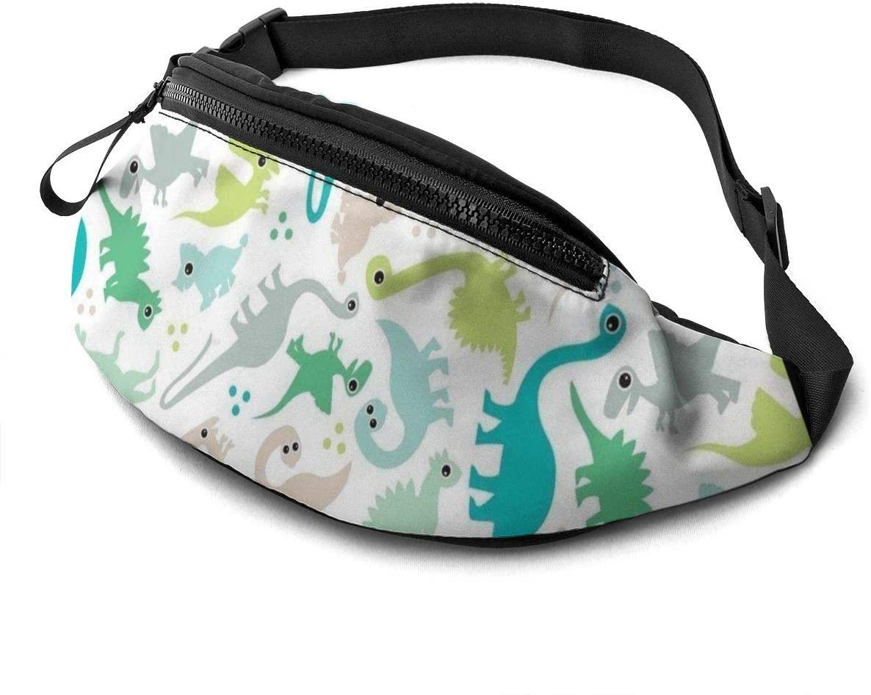 Dinosaur Cartoon Fanny Pack for Men Women Waist Pack Bag with Headphone Jack and Zipper Pockets Adjustable Straps