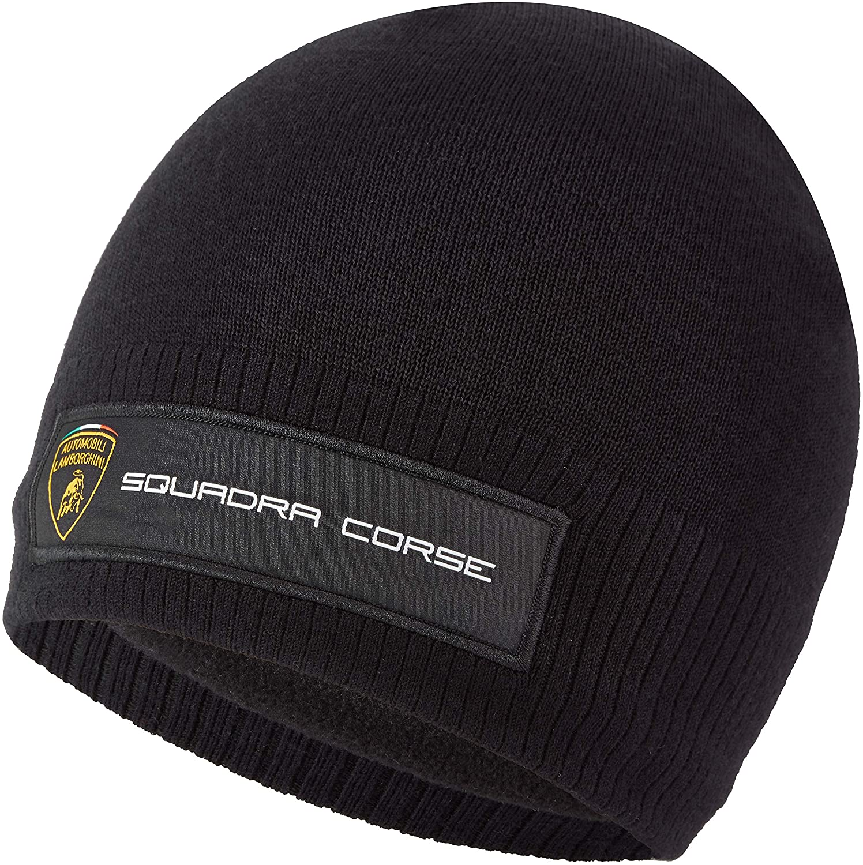 Lamborghini Squadra Corse Team Knitted Beanie Hat Black