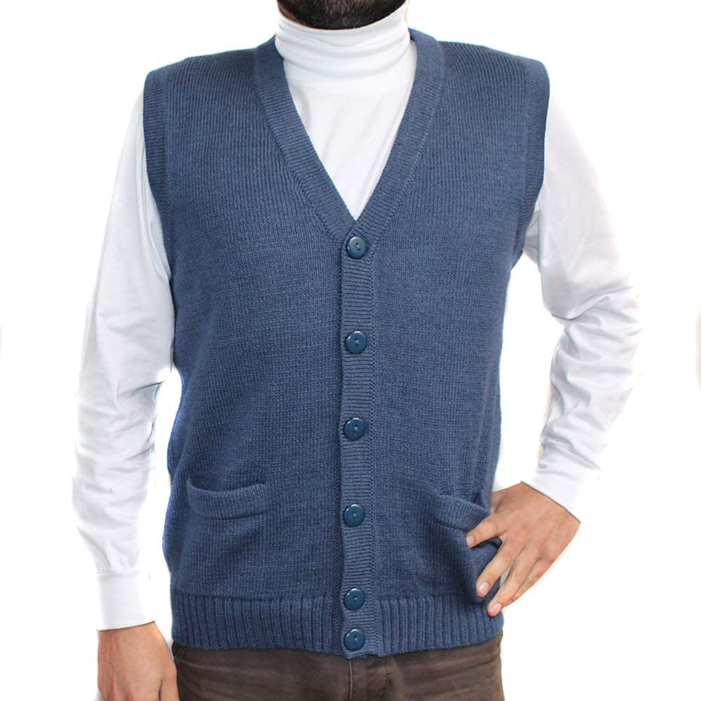 Vest alpaca and blend V neck buttons JERSEY made in PERU buttons and Pockets STEEL