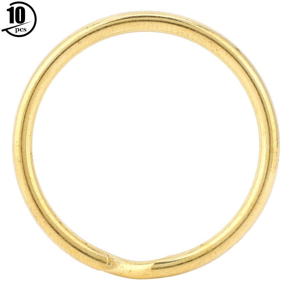 10Pcs Brass Key Ring Round Edged Double Split Ring Metal Split Key Chain Gold Bag Hook Connector Keyring DIY Leather Craft(30mm)