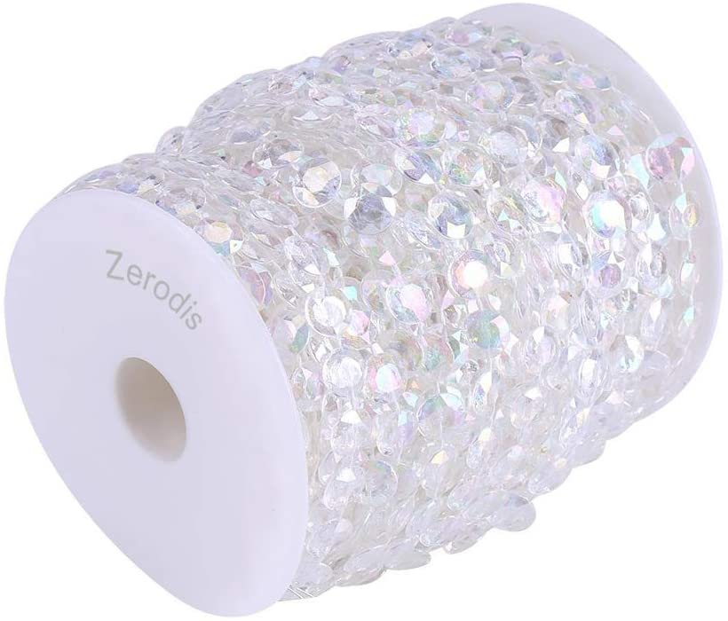 Zerodis 30m/98ft Crystal-Like Acrylic Beads Strands,10mm Clear/AB Color Crystal Gem Bead Curtain Doorway Wedding Birthday Party Decorations DIY Crafts (AB Color)