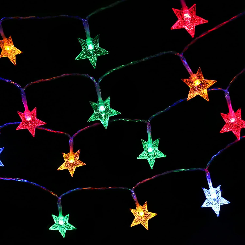 MoKo Star String Lights, 5m/16ft 40 LED Waterproof Star Lights, 2 Lighting Modes, Battery Powered Flash Light for Halloween Christmas Weddings Birthday Family School Parties Décor - Multi Color