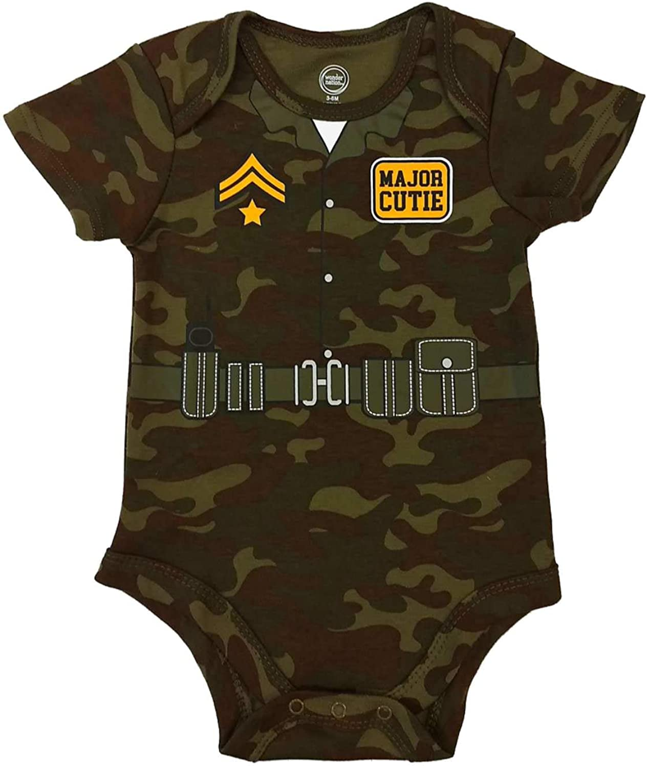 Infant Boys Green Camouflage Major Cutie Bodysuit Camo Soldier Baby Outfit