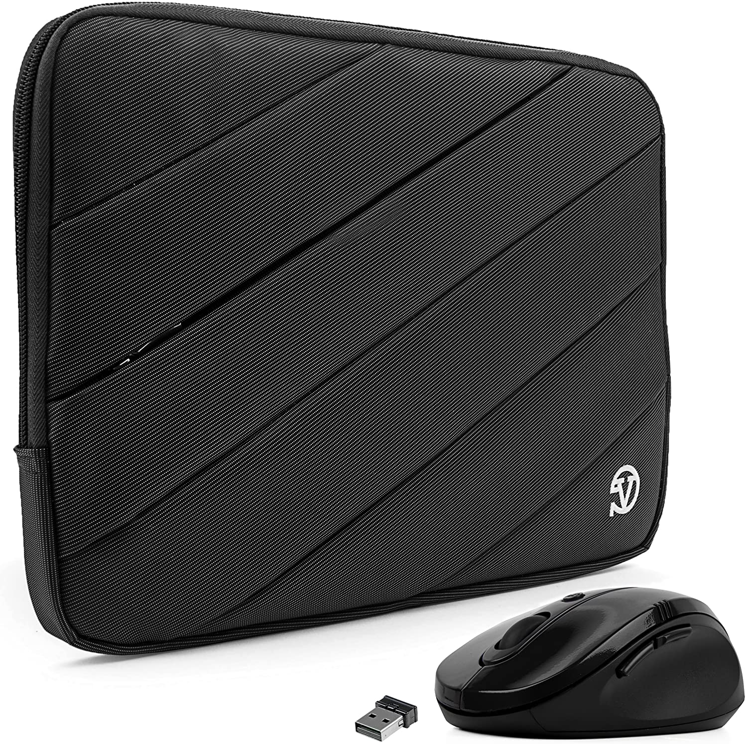 Protective Travel Carrying Case Laptop Sleeve with Mouse (Black, 11.6 to 12.5 inch) for Fujitsu LifeBook, Stylistic Tablet PC