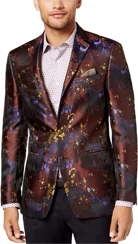 Tallia Mens Abstract Floral Two Button Blazer Jacket