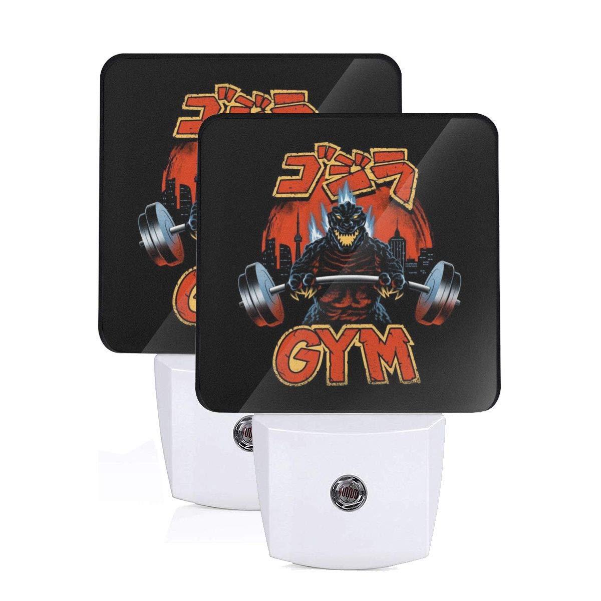 Zilla Gym Godzilla Plug-in Led Night Light with Auto Dusk to Dawn Sensor,Bedroom, Kids Room, Kitchen, Stairway, Adjustable Brightness 2 Pack