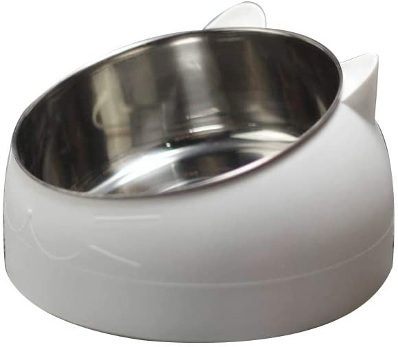 FUCHU Tilted Cat Bowl, Non-Skid Non-Spill 15° Slanted Stainless Steel Small Pet Feeding Watering Bowl with Stand for Neck Protection