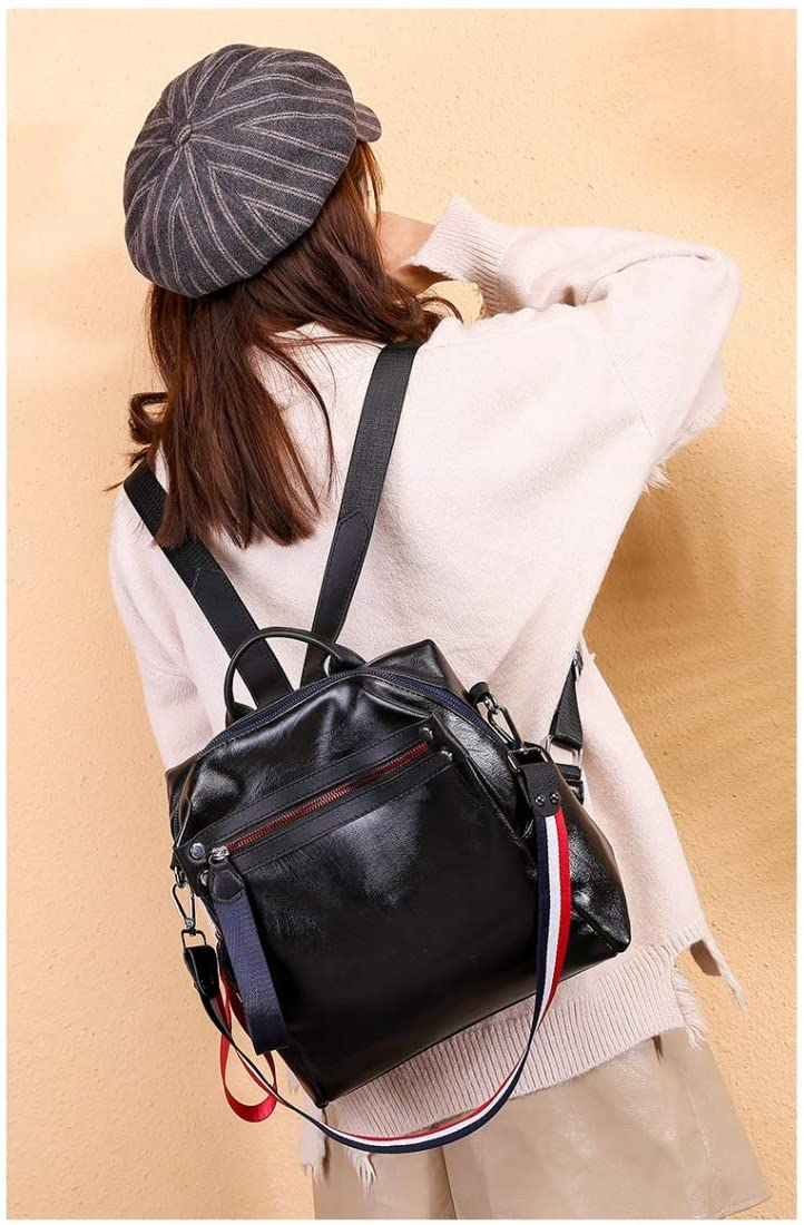 Fashion Bag Great Casual Fashion PU Leather Backpackage Ladies Handbag Waterproof Shoulder Bag (Black) (Color : Black)