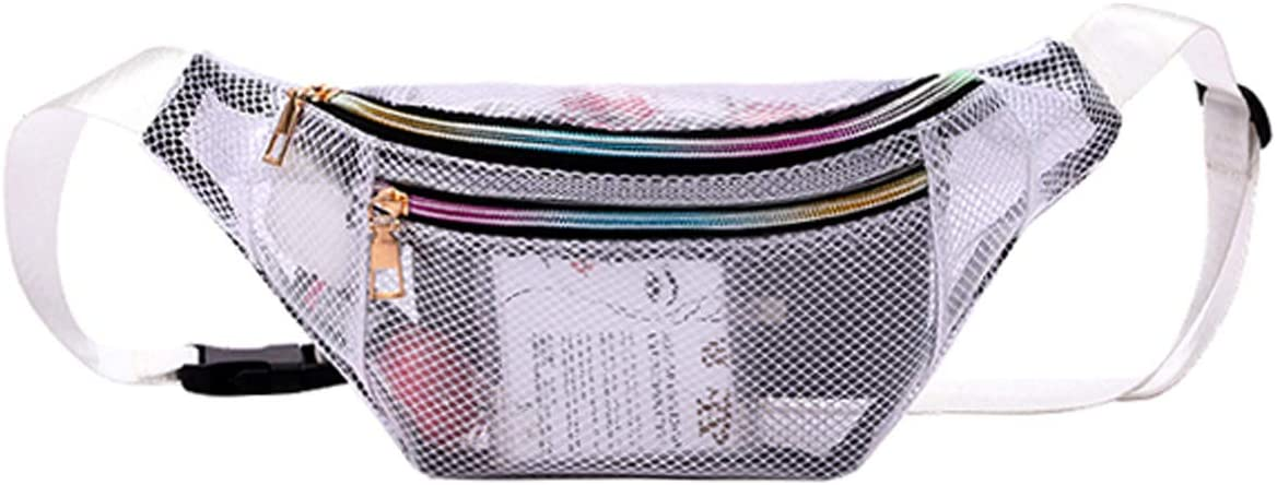 Waist Bag for Women Fanny Packs Grid Clear Belt Bag,Fashion Bum Bags Waist Packs with Adjustable Belt for Concerts,Sports,Travel and Daily Use(Fanny Pack for White)