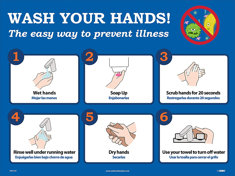 NMC Hand Washing Instructional Poster, 18 X 24, UNRIPPABLE Vinyl