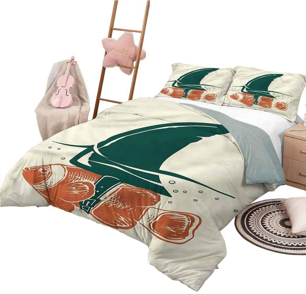 Nomorer Duvet Cover King Size Shark Pattern Bed Cover Pop Art Clown Fish with Fin