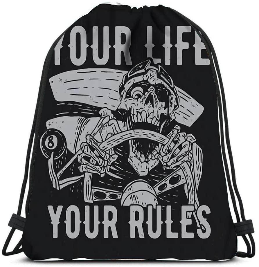bneegxg Backpack Drawstring Bag Hotrod Masters Label of Angry Dead Driver Women&Men Sport Gym Sack