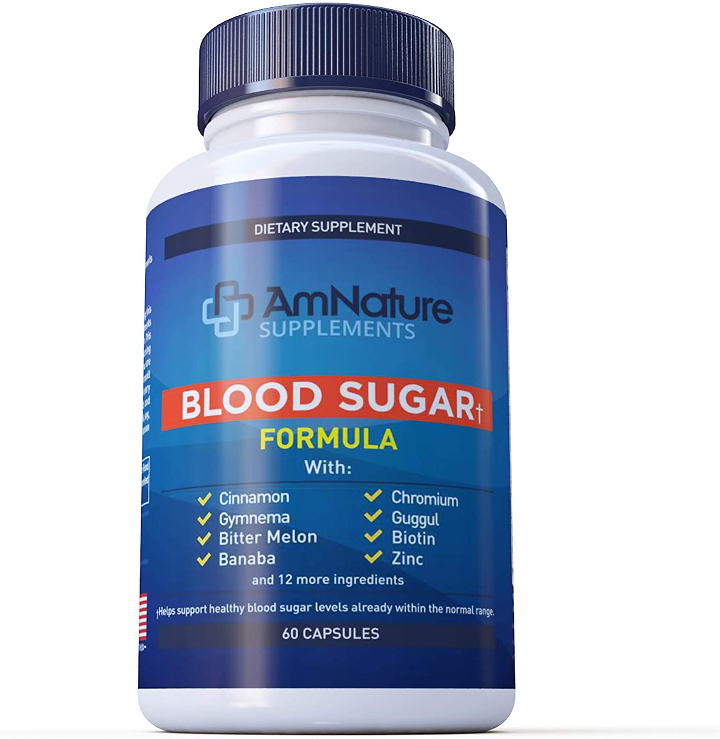 Blood Sugar Level Support Supplement - 20 Herbs & Multivitamin for Healthy Blood Sugar Within Control with Alpha Lipoic Acid & Cinnamon - 60 Pills - AmNature Supplements