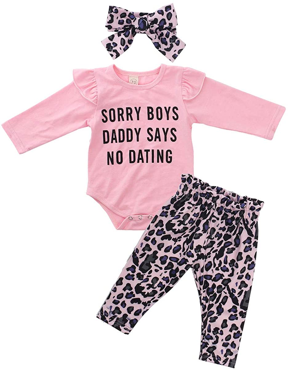 Infant Baby Girl Outfit Long Sleeve Romper Top + Leopard Pants + Headband 3Pcs Baby Girl Fall Clothes Set