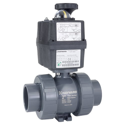 Hayward ECPTBH220STV Series ECP TBH True Union Ball Valve, Automated, Socket/Threaded End, CPVC with FPM Seals, 2
