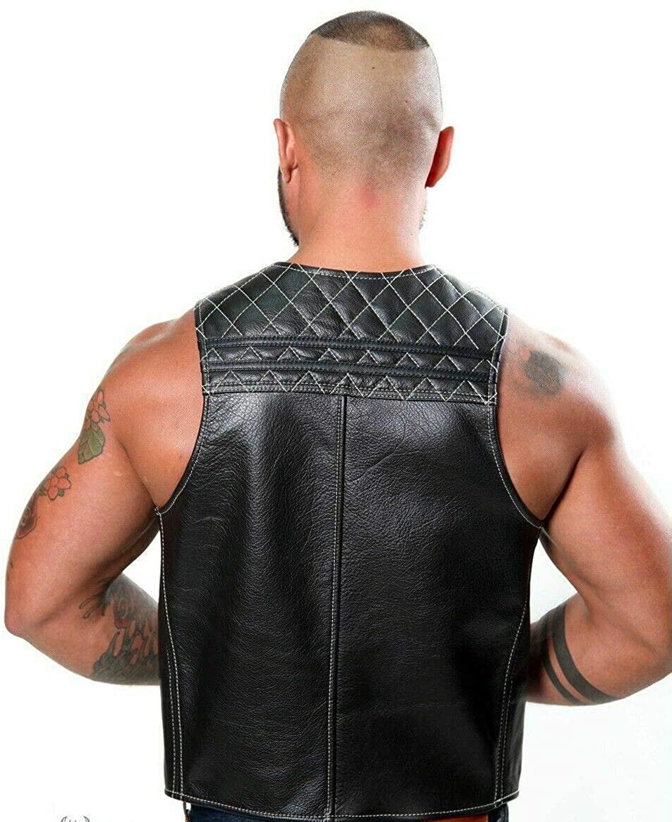 New Men Genuine Leather Sport Quilted BAR Vest Leder Contrast Stitching Cropped